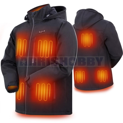 ARRIS 7.4V Battery Heated Jacket for Men Heated Clothing Warm Jacket with 7200mah Battery 8 Heating Panels Jacket