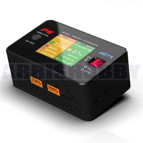 HOTA P6 DC600W 15AX2 DC Dual Channel Smart Charger with Mobile Service Charging for Lipo LiIon NiMH Battery